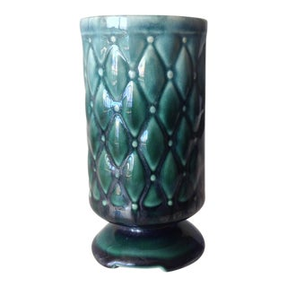 c.1950s Mid-Century Ceramic Crackle Glazed Cross Quilted Teal Vase For Sale