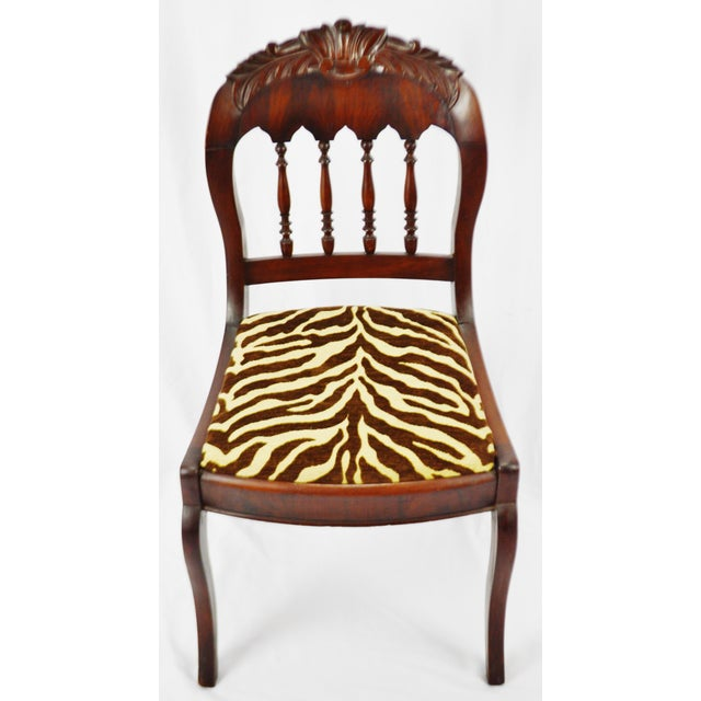Traditional Vintage Victorian Style Side Chair With Animal Print Cushion For Sale - Image 3 of 13
