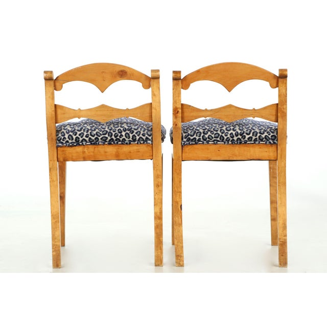 19th Century Biedermeier Style Carved Fruitwood Lowback Side Chairs - a Pair For Sale - Image 4 of 10