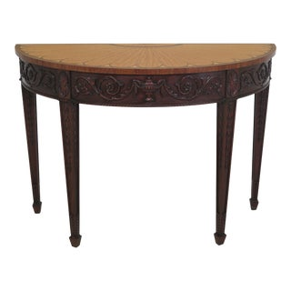 1990s Vintage Henkel Harris Model 5749 Carved & Inlaid Console Table For Sale