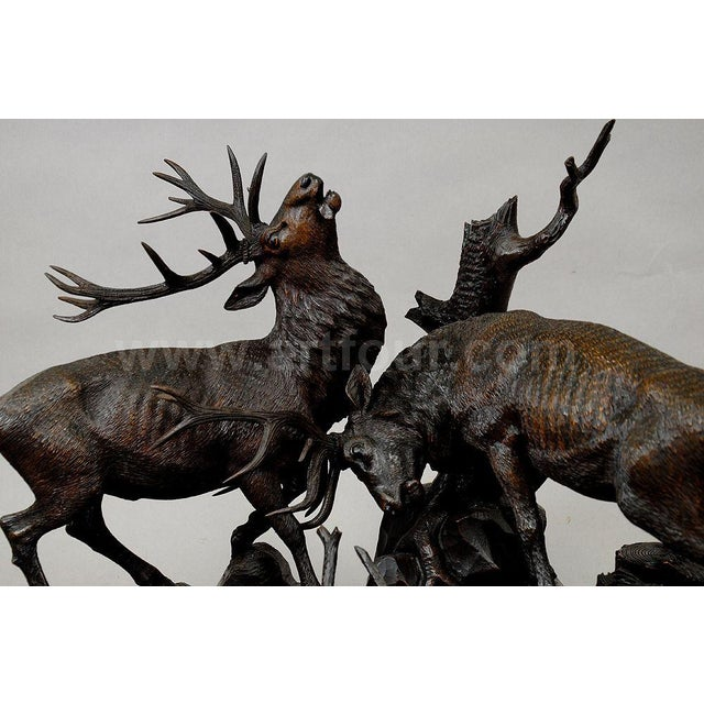 Black Forest Grandiose Carved Wood Fighting Stags By Rudolph Heissl For Sale - Image 3 of 9