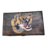 Image of Antique Asian Wood Box with Hand Painted Tiger Head For Sale