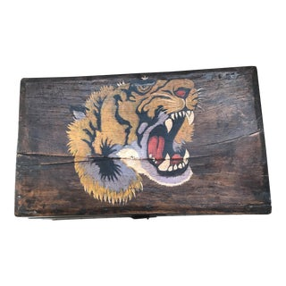 Antique Asian Wood Box with Hand Painted Tiger Head