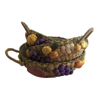 1970s Vintage Straw Nesting Fruit Baskets - Set of 3 For Sale