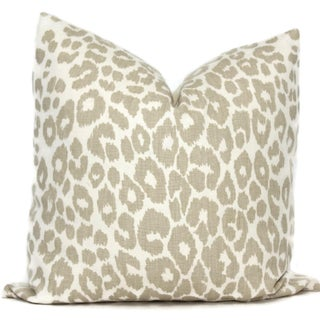 """20"""" X 20"""" Schumacher Iconic Leopard in Linen Decorative Pillow Cover Preview"""