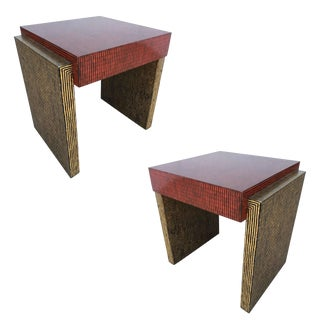 Two-Tone Cubist Style Side Table, Pair For Sale