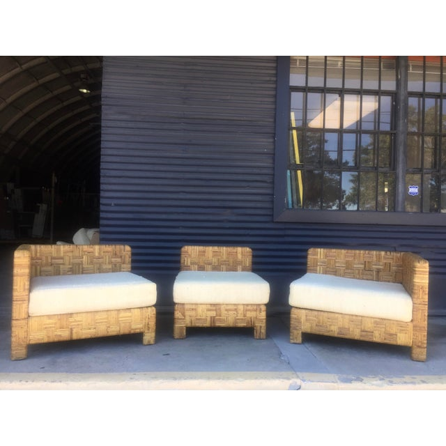 Vintage Woven Caning Sectional Sofa - Image 3 of 11