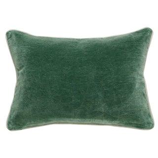 Traditional Classic Home Green Velvet Bolster Pillow For Sale