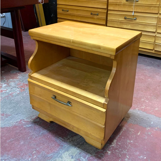 1960s Kling Blonde Solid Curly Maple Nightstand For Sale - Image 9 of 9
