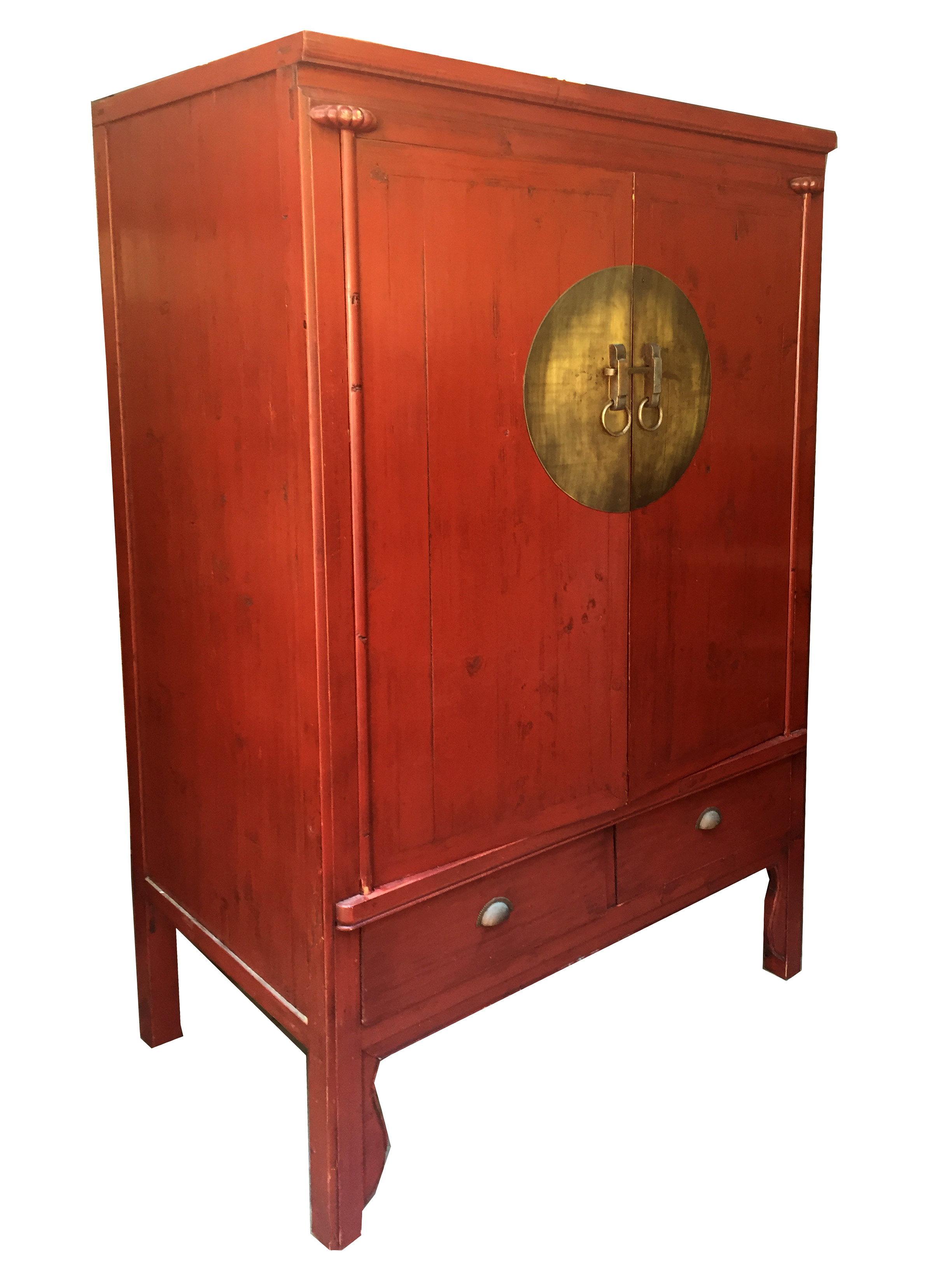 Vintage Red Lacquer Chinese Wedding Cabinet   Image 2 Of 6