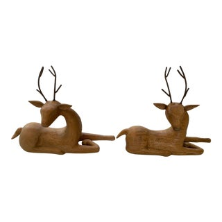 Carved Tabletop Wood Deer With Iron Antlers - a Pair For Sale