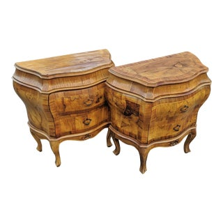 Antique Venetian Italian Bombe Olivewood Commode Nightstands - a Pair For Sale