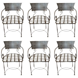 Hand-Forged Wrought Iron Dining Chairs - Set of 6