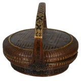 Image of Antique Handwoven Brown Bamboo and Rattan Basket From 19th Century, China For Sale