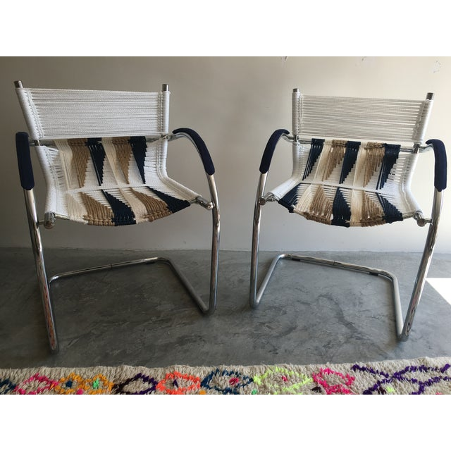 Upcycled Chrome Macrame Chairs - Pair - Image 2 of 6