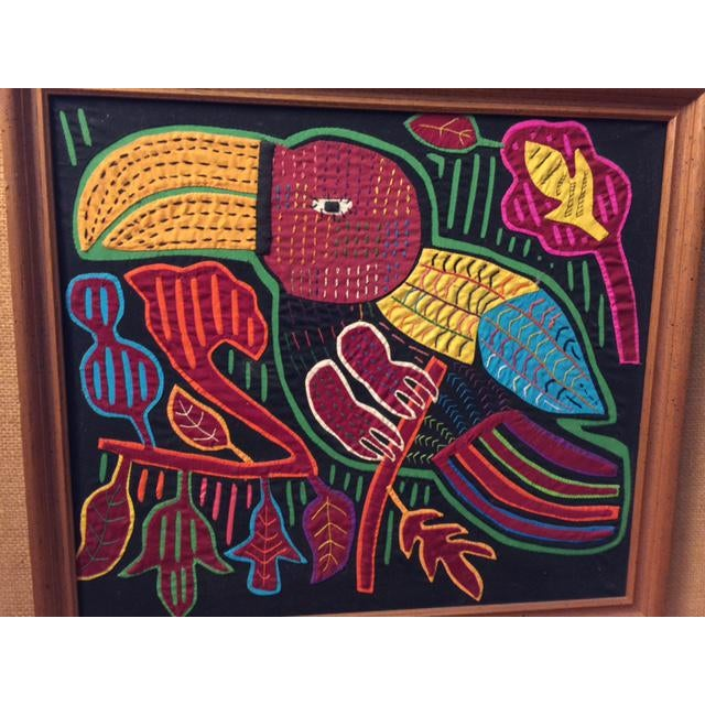 Mid-Century Framed Kuna Mola Textile Art For Sale - Image 4 of 5