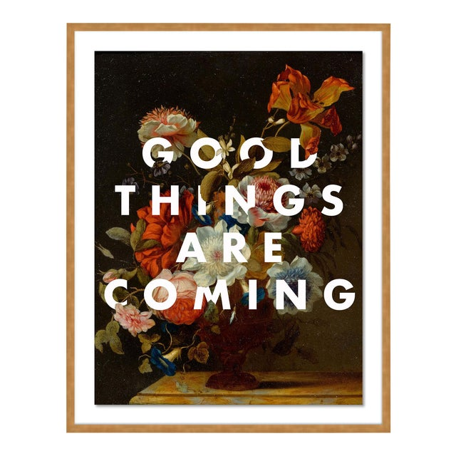 Good Things Are Coming by Lara Fowler in Gold Framed Paper, Small Art Print For Sale