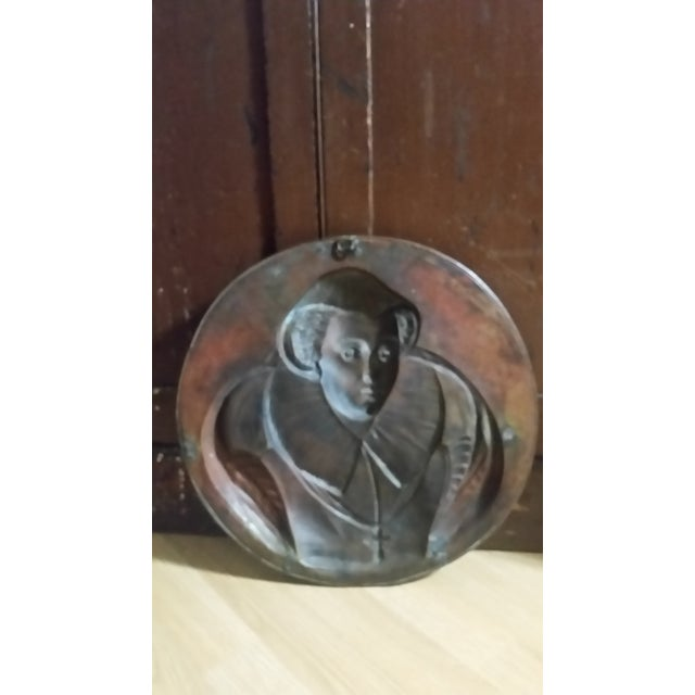 Vintage Mary Queen of Scots Bronze Decorative Hanging Plate For Sale In New York - Image 6 of 8