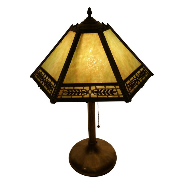 Vintage Pilabrasgo 1920's Slag Glass Table Lamp For Sale
