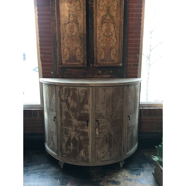Distressed Grey Demi-Lune Cabinet For Sale - Image 11 of 12