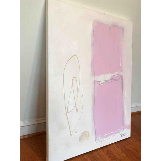 Acrylic, graphite, and chalk pastel on canvas. Stunning and bold in its simplicity. Edges painted white, back wired, ready...