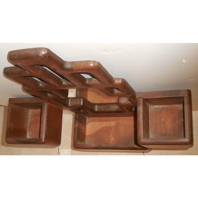 Vintage Cubist Carved Wood Mirror For Sale - Image 9 of 11