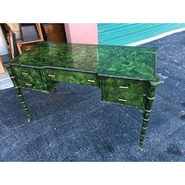 Magnificent antique painted malachite desk. Truly a rare specimen. The most beautiful hand painted desk I have ever seen....