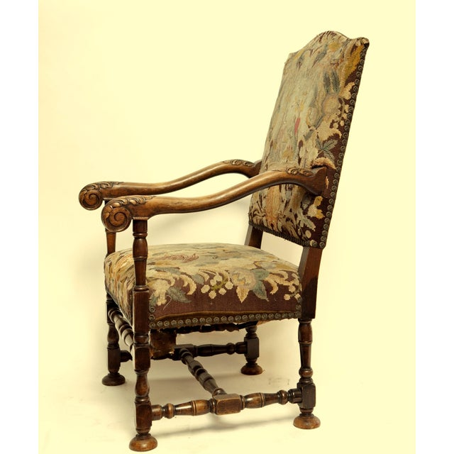 French Louis XIII Style Walnut Armchair - Image 3 of 3