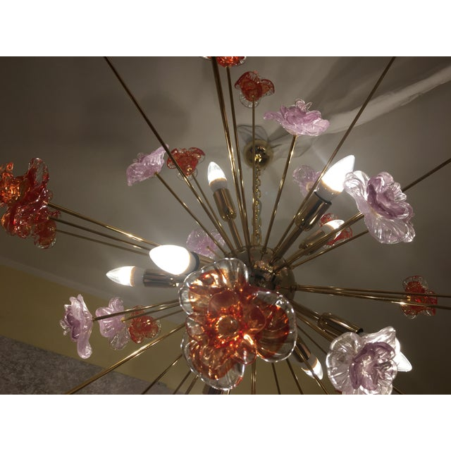 Murano Glass Triedo Sputnik Flower Chandelier For Sale - Image 6 of 8