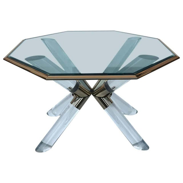 """Transparent Charle Hollis Jones """"Post & Truss"""" Lucite and Brass Dining Table For Sale - Image 8 of 8"""