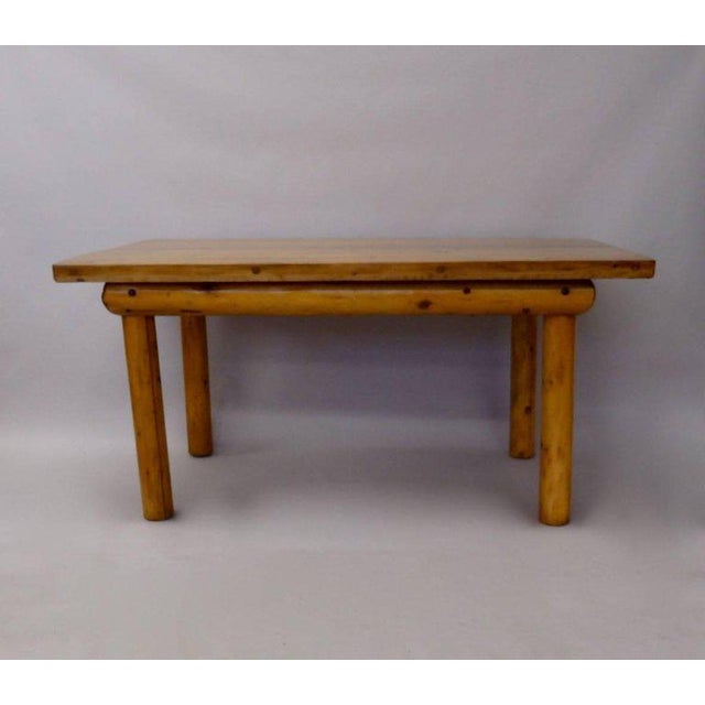 Knotty Pine Rustic Adirondack Ranch or Cottage Dining Table With Benches For Sale In Detroit - Image 6 of 10