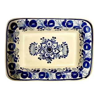 Gorky Gonzalez Mexican Majolica Blue & White Serving Dish