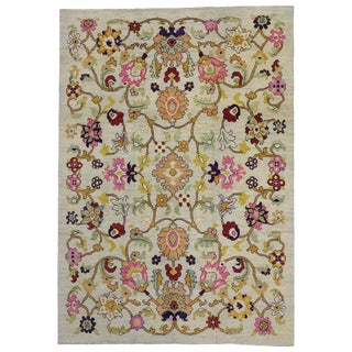"Turkish Oushak Rug With Colorful Geometric Design - 10'3"" X 14'7"" For Sale"