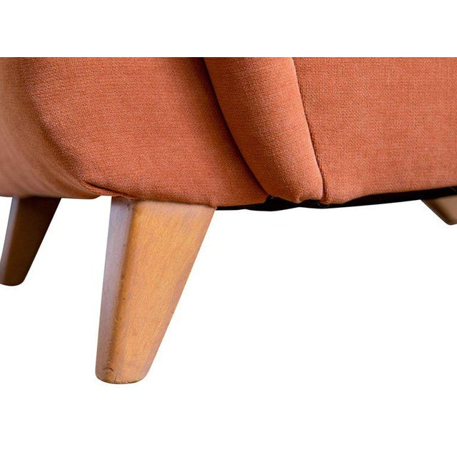 1950s Burnt Orange Upholstered Lounge Chair by Heywood Wakefield For Sale In Boston - Image 6 of 8