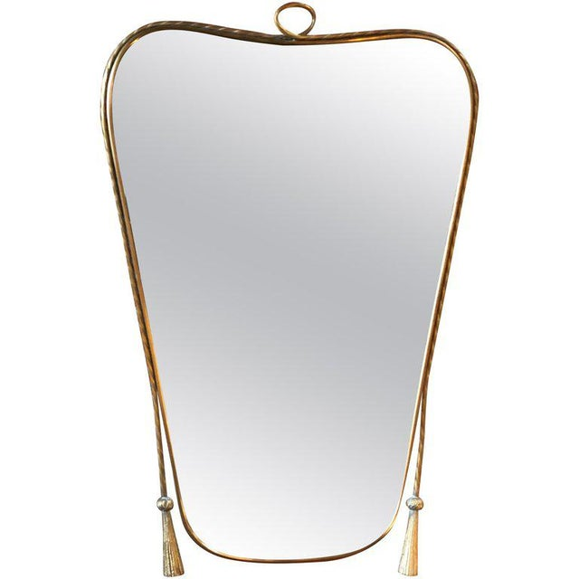 Italian Curvilinear Brass Mirror, 1950s For Sale - Image 9 of 9