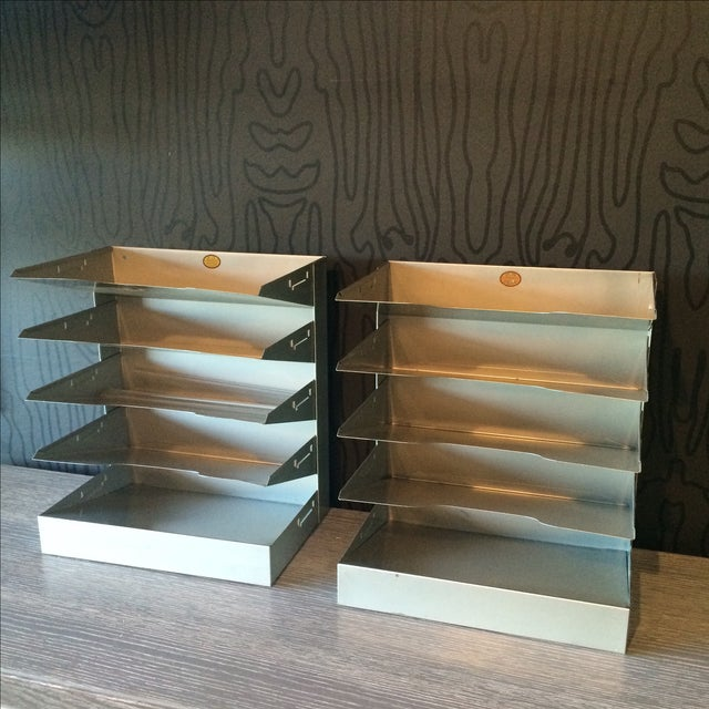 Mid-Century Metal Filing Trays - A Pair - Image 3 of 7