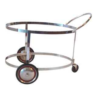 Moderne Chrome Drink Cart in the Style of Gilbert Rohde for Troy Sunshade For Sale