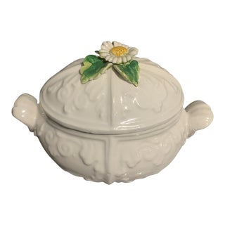 Italian Pottery Daisy Lidded Container, 1960s For Sale