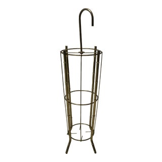 Vintage Metal Faux Bamboo Umbrella Stand For Sale