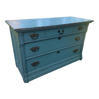 Antique Oak Teal Dresser For Sale