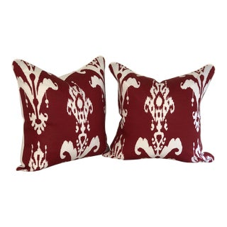 Pair of Red and White Ikat Pillows by Jim Thompson For Sale