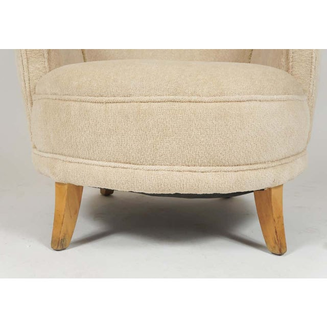 1940s Barrel Back Moderne Freshly Upholstered Lounge Chairs After Gilbert Rohde, Pair For Sale - Image 10 of 12
