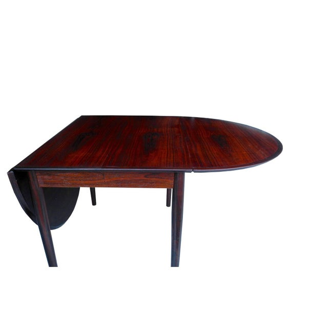 Wood Danish Modern Drop Leaf Solid Rosewood Dining Table by Henry Rosengren Hansen For Sale - Image 7 of 10