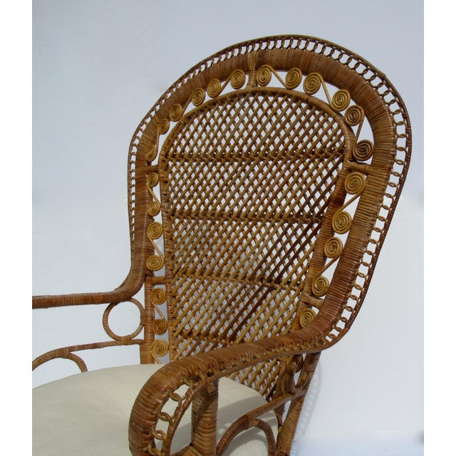 Orange Final Markdown: C1970s Vintage Bohemian Eclectic Boho Chic Rattan Raw Wicker Peacock Chair For Sale - Image 8 of 13
