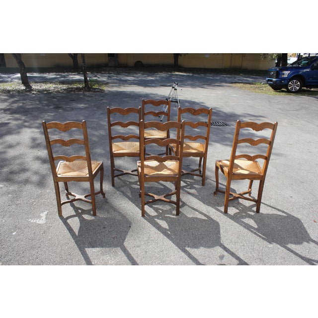 Brown 1910s Vintage French Country Rush Seat Solid Walnut Dining Chairs- Set of 6 For Sale - Image 8 of 13