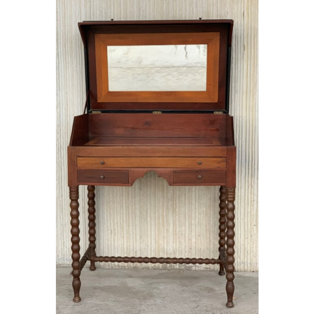 Wood 19th Rosewood Art Deco Open Up Vanity or Secretary Desk. Dressing Table For Sale - Image 7 of 11