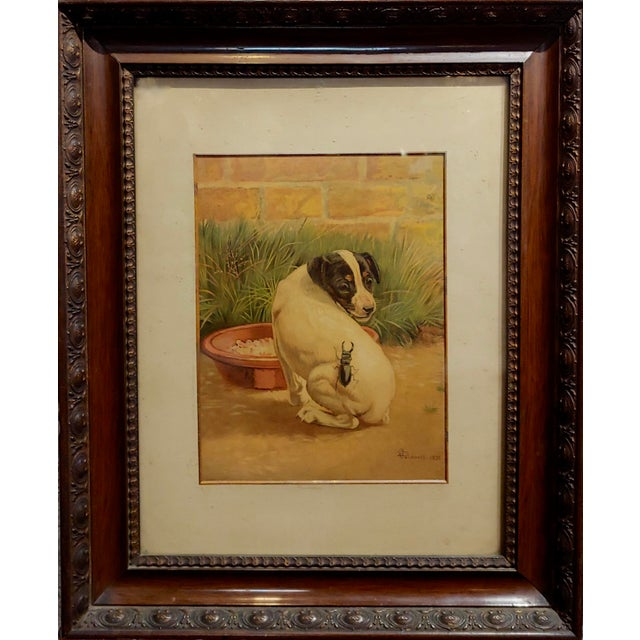 """This is a vintage oil painting by artist Edmund Caldwell. The piece is entited """"Jack Russel Puppy With A Stag Beetle"""". The..."""