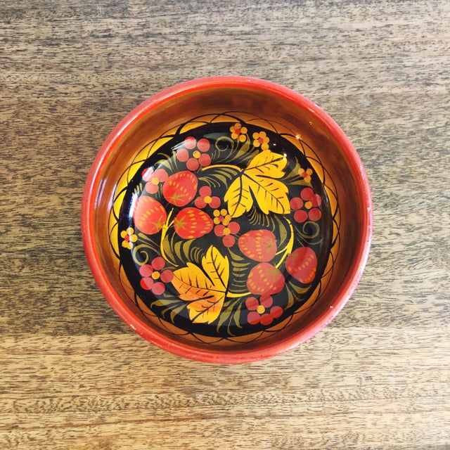 Russian Lacquerware Painted Bowl For Sale - Image 4 of 8