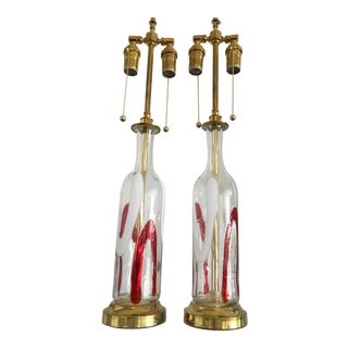 Petite Lattimo Glass Lamps With Brass by Vistosi - a Pair For Sale