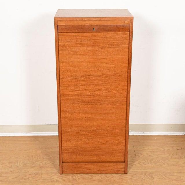 Danish Teak Locking Tambour Door Filing Cabinet For Sale In Washington DC - Image 6 of 9